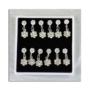 Box of 6p Ears Earrings Cubic Zirconia L15mm 75611