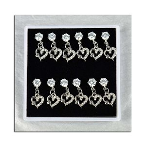Box of 6p Ears Earrings Cubic Zirconia L15mm 75622