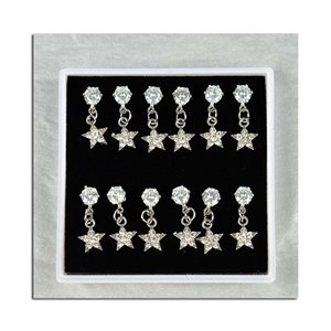 Box of 6p Ears Earrings Cubic Zirconia L15mm 75624
