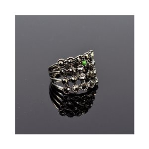 New Collection Adjustable Metal Ring Set with Rhinestone Color Anthracite 75637
