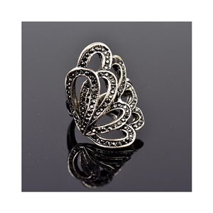 New Collection Adjustable metal ring set with Rhinestone Anthracite 75641