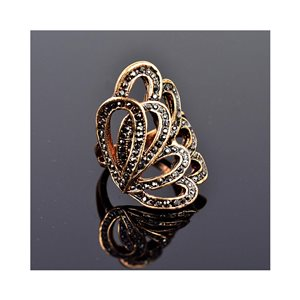 New Collection Adjustable Metal Ring Set with Rose Gold Color Rhinestones 75644