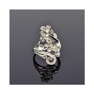 New Collection Adjustable metal ring set with rhinestone color Silver 75650