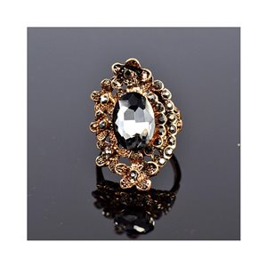 New Collection Adjustable Metal Ring Set with Rose Gold Color Rhinestones 75672
