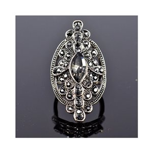 New Collection Adjustable Metal Ring Set with Rhinestone Color Anthracite 75673