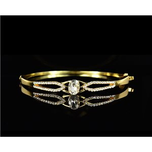 Gold colored metal bracelet Chic Collection set with Rhinestones D55mm L18cm clip clasp 75528