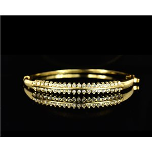 Bracelet métal couleur Doré Collection Chic sertie de Strass D55mm L18cm fermoir a clip 75522