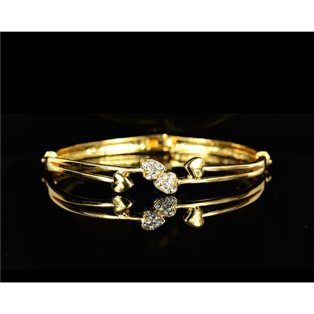 Gold colored metal bracelet Chic Collection set with rhinestones D55mm L18cm clip clasp 75550