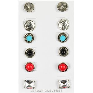 Set of 6p Stud Earrings Ear Studs Metal Silver Color Blister 75681