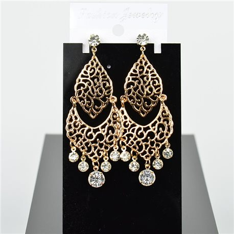 1p Earring Drop Earrings 8cm Metal Gold Color New Graphika Style 75745