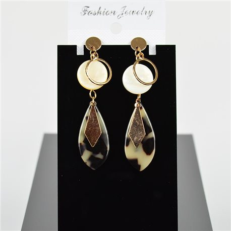 1p Earring Drop Earrings 7cm Metal Gold Color New Graphika Style 75708