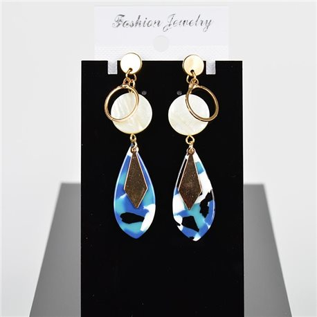 1p Earring Drop Earrings 7cm Metal Gold Color New Graphika Style 75710