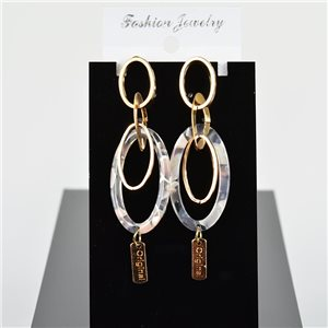1p Earring Drop Earrings 8cm Metal Gold Color New Graphika Style 75716