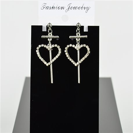 1p Earring Drop Earrings 5cm Metal Silver Color New Graphika Style 75695