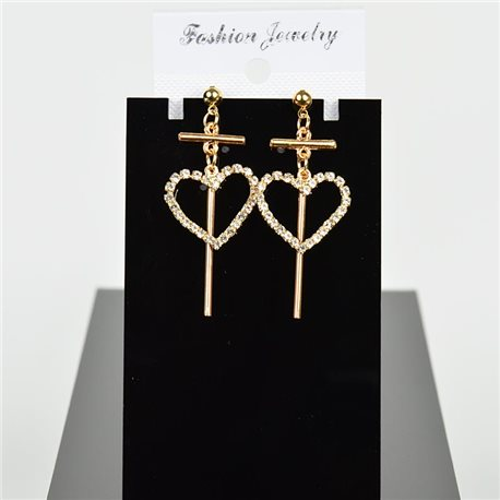 1p Earring Drop Earrings 5cm Metal Gold Color New Graphika Style 75696