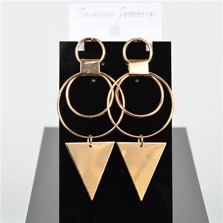 1p Earring Drop Earrings 8cm Metal Gold Color New Graphika Style 75751