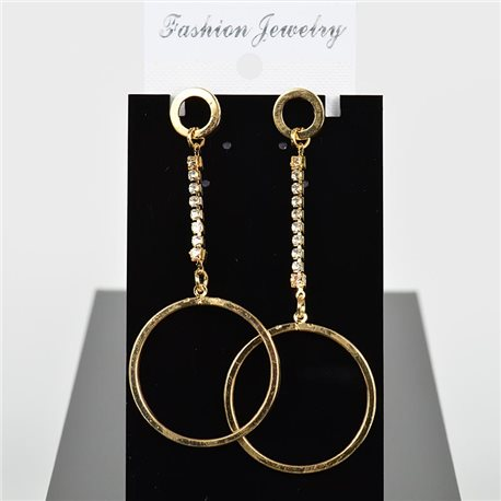 1p Earring Drop Earrings 9cm Metal Gold Color New Graphika Style 75690