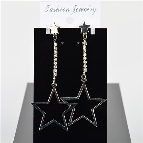 1p Earring Drop Earrings 8cm Metal Silver Color New Graphika Style 75691