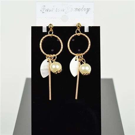 1p Earring Drop Earrings 6cm Metal Gold Color New Graphika Style 75700