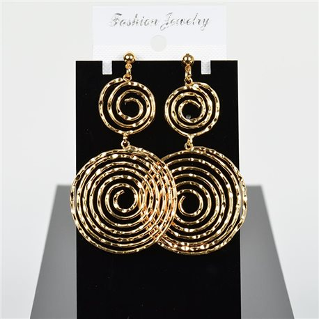 1p Earring Drop Earrings 7cm Metal Gold Color New Graphika Style 75722