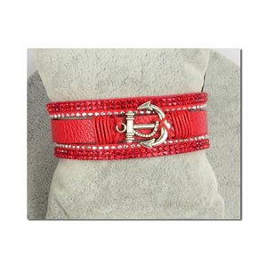 Multi-strand Rhinestone Cuff Bracelet L19cm Anchor Marine Collection Magnetic clasp 25mm 75397