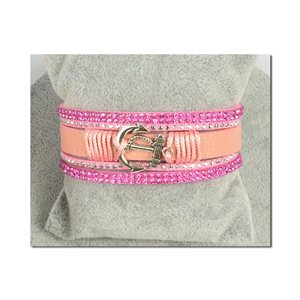 Bracelet Manchette Strass multirang L19cm Collection Ancre de Marine fermoir aimanté 25mm 75398