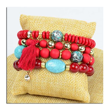 Bracelet CYBELE Cuff 4 Ranks Collection Bead Charms and Jewelry on Elastic Wire New Collection 75771