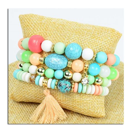 Bracelet CYBELE Cuff 4 Ranks Collection Bead Charms and Jewelry on Elastic Wire New Collection 75773