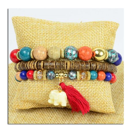 Bracelet CYBELE Cuff 3 Ranks Collection Bead Charms and Jewelry on Elastic Wire New Collection 75777