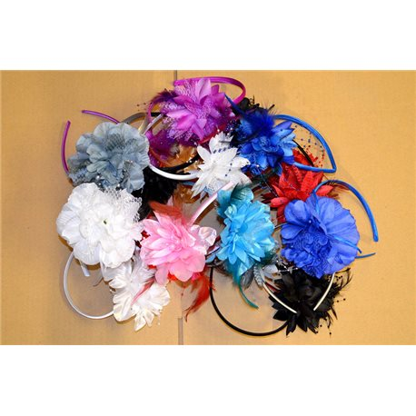 Lot of 18 Green Heads Head Fashion Feathers and Beads on Flower 74004