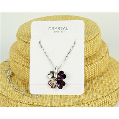 Crystal 4 Hearts Pendant on Silver Metal Chain L41-46cm 75802