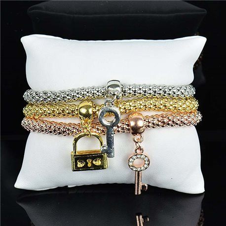 Set de 3 Bracelets Charms extensible 3 Coloris Silver-Gold-Rose Gold 75794