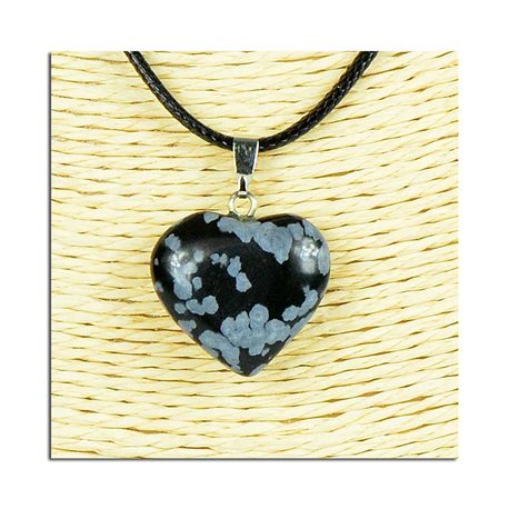 Heart pendant necklace 20mm stone waxed cord L49cm 75810