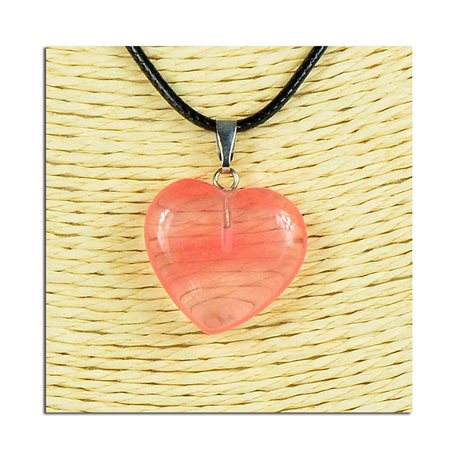 Necklace Heart Pendant 20mm stone on waxed cord L49cm 75813