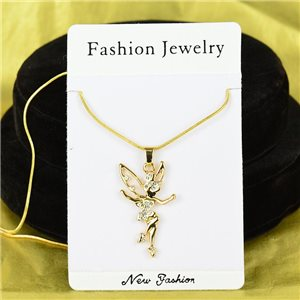 Necklace Rhinestones Pendant IRIS Gold Color Chain snake mesh L40-45cm 75902