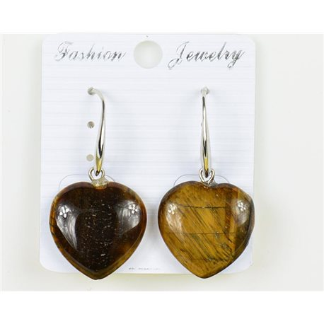1p Earrings 20mm Natural Stone Tiger's Eye on Silver Metal 75951