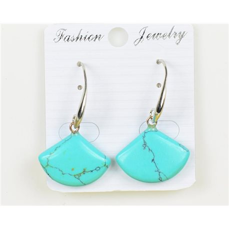 1p Earrings 20mm Natural Stone Turquoise on Silver Metal 75961