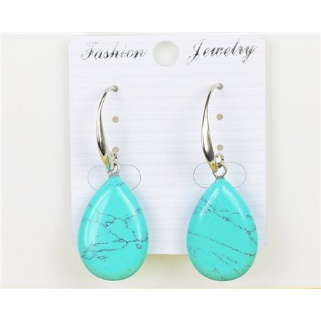 1p Earrings 25mm Natural Stone Turquoise on Silver Metal 75967