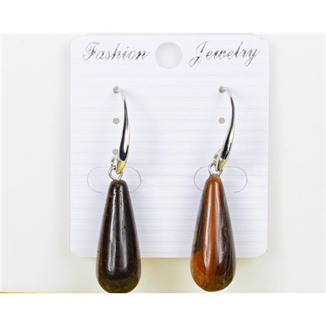 1p earrings 25mm natural stone Tiger eye on metal Silver 75981