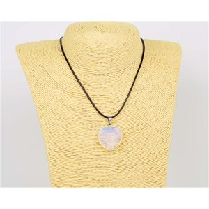 Pendant Necklace 25mm Natural Stone White Quartz on waxed cord L43-47cm 75912