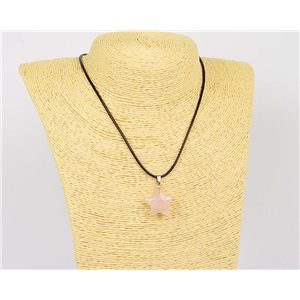 Pendant Necklace 20mm Natural Stone Rose Quartz on waxed cord L43-47cm 75918