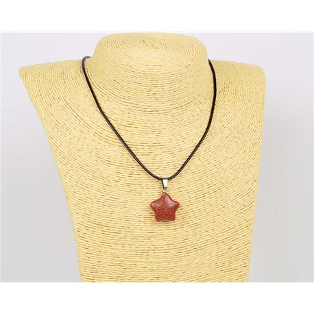 Necklace 20mm natural stone SandStone on waxed cord L43-47cm 75921