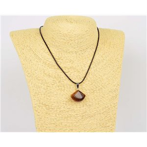 Pendant Necklace 20mm Natural Stone Tiger Eye on waxed cord L43-47cm 75926