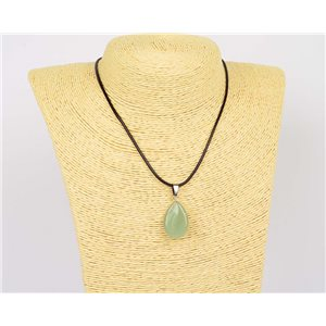 Pendant necklace 25mm natural stone Aventurine waxed cord L43-47cm 75934