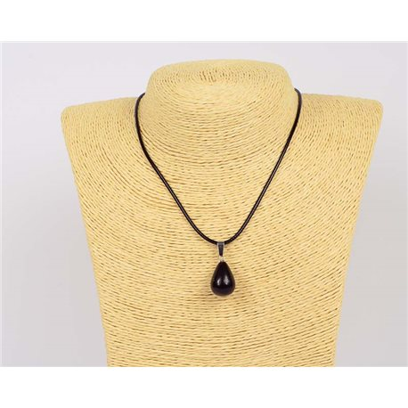 Pendant necklace 20mm natural stone Obsidian on waxed cord L43-47cm 75935