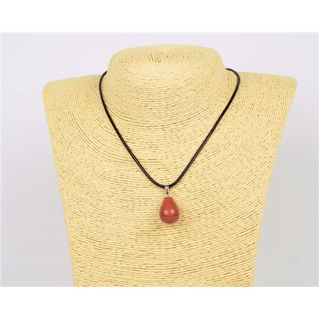 Necklace pendant 20mm Sandstone natural stone on waxed cord L43-47cm 75939