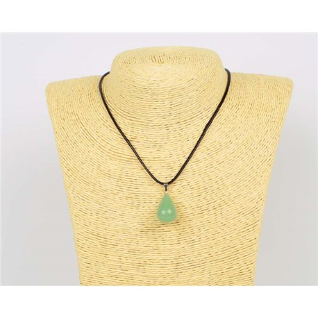 Pendant necklace 20mm natural stone Aventurine waxed cord L43-47cm 75940