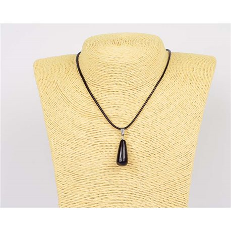 Necklace pendant 25mm natural stone Obsidian on waxed cord L43-47cm 75941