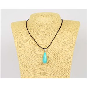 Necklace pendant 25mm Turquoise natural stone on waxed cord L43-47cm 75944