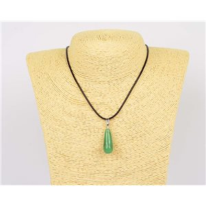 Pendant Necklace 25mm natural stone Aventurine waxed cord L43-47cm 75946